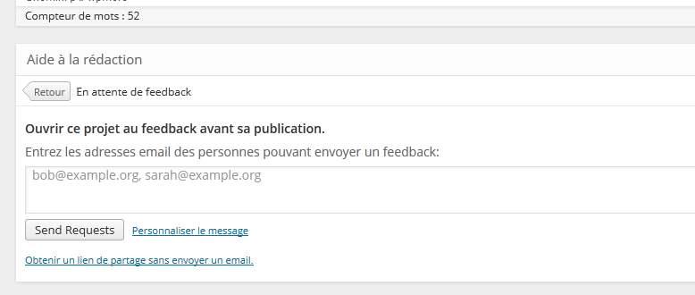 lien de feedback wordpress
